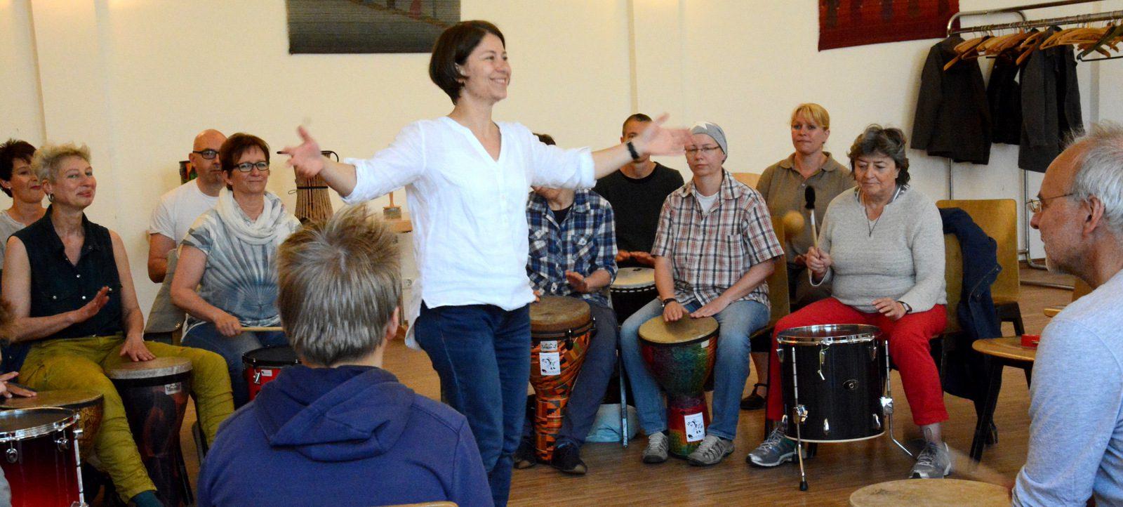 Drum Circle mit Helga Reihl, Lübeck
