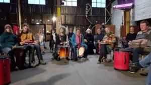 Drum Circle meets Storytelling im Schuppen C Lübeck, (Kunst am Kai)